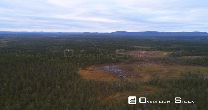 Swamp, Aerial Decreasing View Towards a Big Wet Bog, in Lapland Pyhaluosto National Park, on a Cloudy Autumn Day, in Lappi, Finland