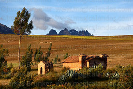 Rustic adobe church near Chinchero, Cusco region, Peru