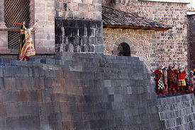 The Inca and his officials on wall of Coricancha / Sun Temple at start of Inti Raymi festival, Cusco, Peru