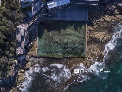 Coogee Drone Rock Pool Time Lapse Sydney Australia. Long Exposure Drone Time Lapse using high Rated ND Filters of Swimmers at Wylies Baths Swimming Rock Pool.