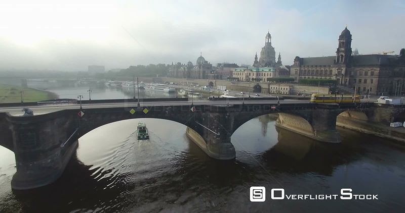 Elbe River and the Historic Augustusbruke in Capital City Dresden Germany