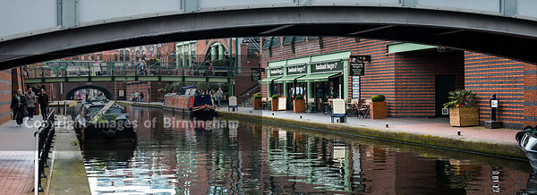 Barges on the canals at Brindleyplace, Birmingham, England