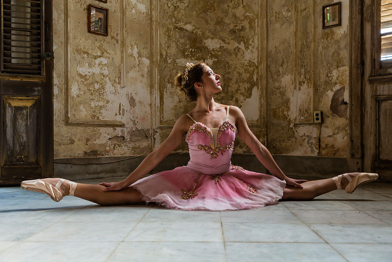 Ballerina in a Vintage Tutu Exercising in a Pre-Revolutionary Colonial Home