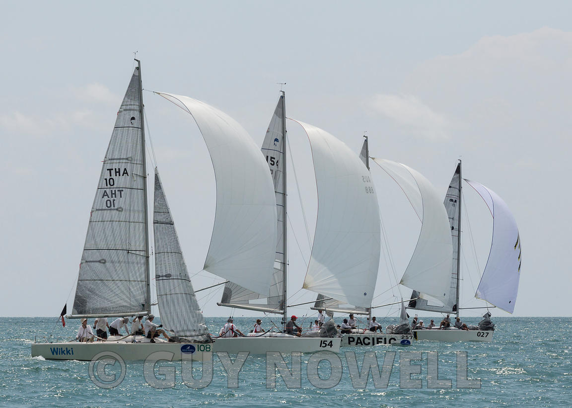 Side-by-side-by-sailing. The last run to the finish that decided the Coronation Cup. Top of the Gulf Regatta 2017