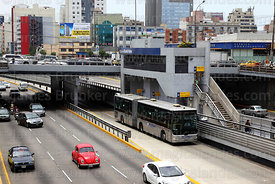 El Metropolitano bus at Ricardo Palma station on Via Expresa, Miraflores, Lima, Peru