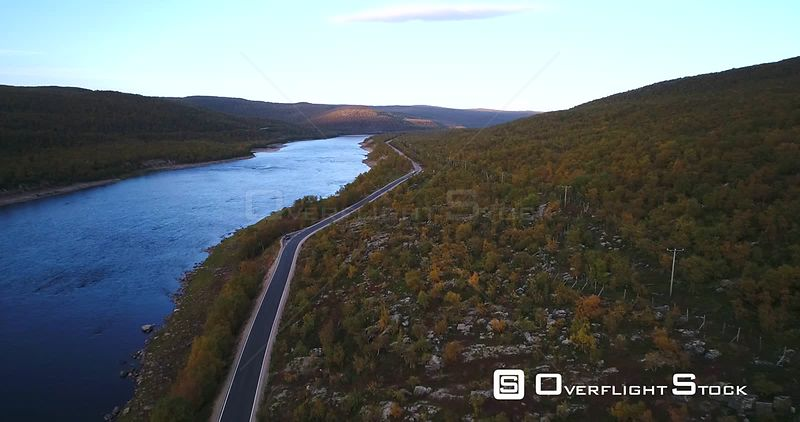 Autumn Color Road, Aerial View Over Road 970 the Tenontie, Near Tenojoki River, at the Border of Norway and Utsjoki, on a Sunny Evening Dawn, in Lapland, Finland