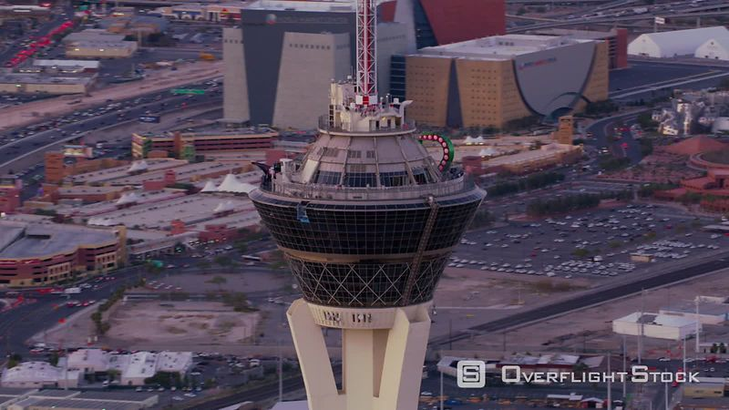 Las Vegas, Nevada Orbit around stratosphere tower on Las Vegas Strip.  Shot with Cineflex and RED EpicW Helium.