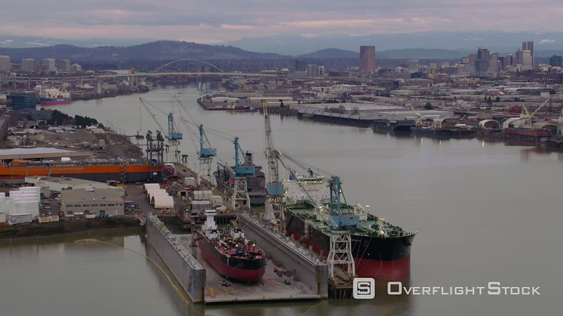 Aerial view of industrial shipping area in north Portland, Oregon on Willamette River