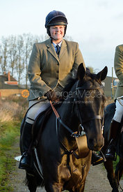 Kelly Morgan leaving the meet - The Cottesmore Hunt at the kennels 21/10