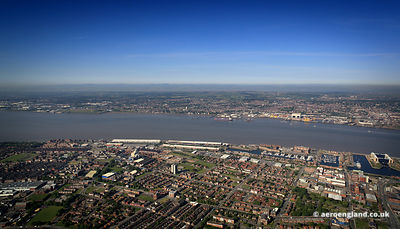 aerial photograph of Toxteth  and vicinity in   Liverpool  Merseyside England UK