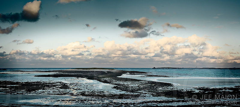 Low tide on evening ocean