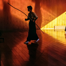 Two female Kyodo practitioners at the dojo in Kyoto