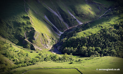 aerial photographs of  Dovedale in the Peak District, Derbyshire England UK.
