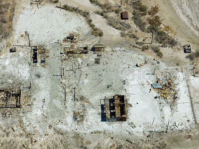 Remains of town of Bombay Beach, Salton Sea,  Imperial County, California, USA.