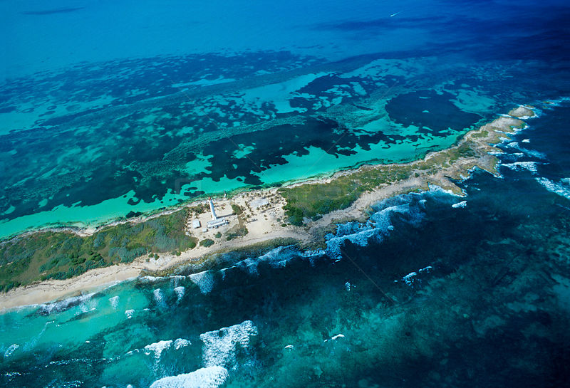 Aerial view of northern part of Contoy Island, Contoy Island National Park, Mesoamerican Reef System, near Cancun, Caribbean Sea, Mexico, January