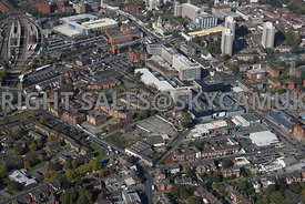Stockport aerial photograph looking across Shaw Heath and Royal George Street and Stockport College