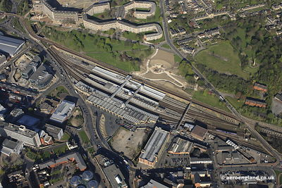 aerial photograph of Sheffield Railway Station.Sheaf Street.Sheffield, South Yorkshire S1 2BP.United Kingdom