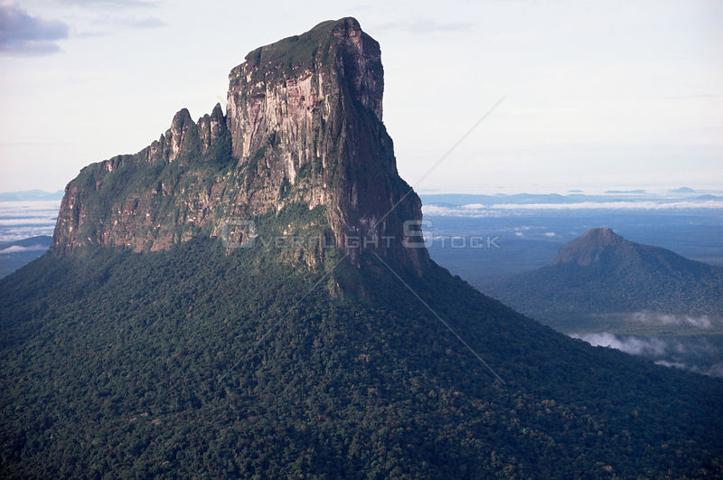 Aerial view of Wahari Kwawai tepuis, flat top mountain, Amazonia, Venezuela