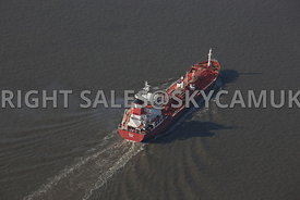 Liverpool Shipping aerial photograph of the  liquid gas transporter the Tequila transiting the River Mersery