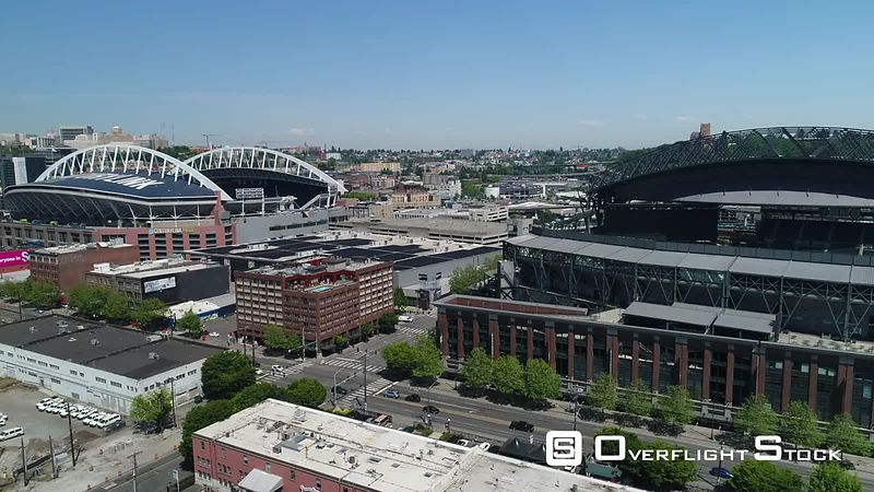 Drone Video Safeco and CenturyLink Fields Seattle Washington City Center