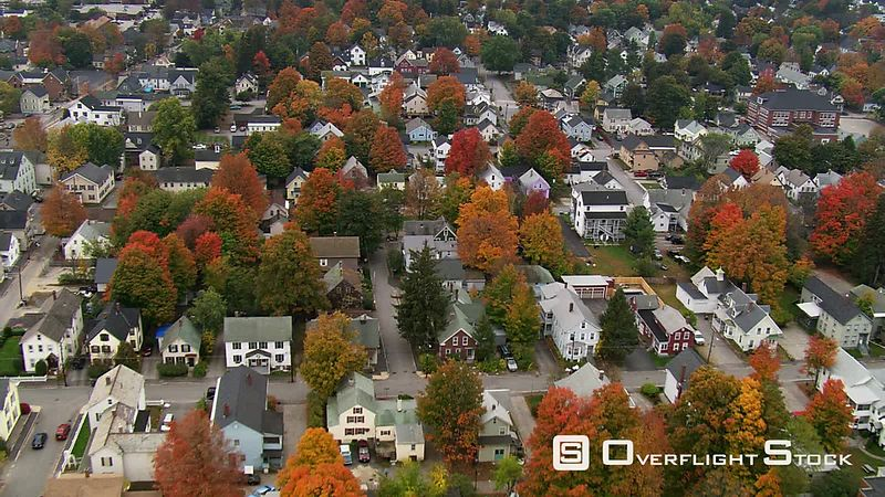 Flying over neighborhoods in Concord, New Hampshire