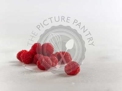 Macro shot of fresh raspberries in water on a white textured surface.