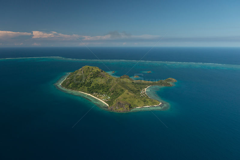 Aerial of Great Sea Reef and Kia Island. Northern Division, Vanua Levu, Fiji. December 2013.