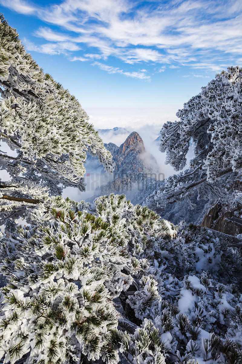 View of Huangshan Mountans at the Beginning to Believe Viewing Area after a Snowfall