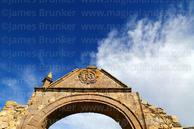 Main entrance arch of Santa Cruz of Jerusalem church, Juli, Puno Region, Peru