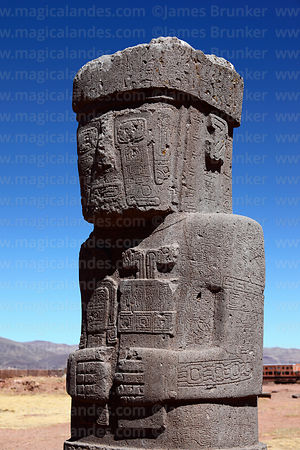 Front view of Ponce monolith, Tiwanaku, Bolivia