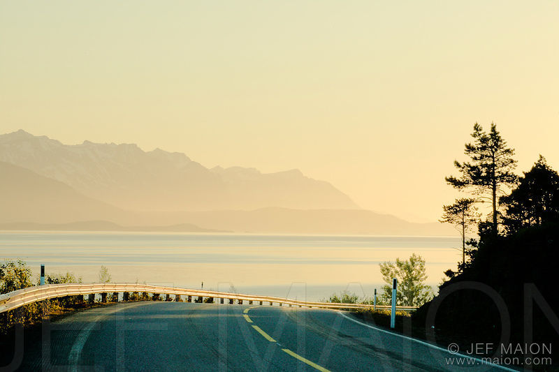 Coastal road at sunrise