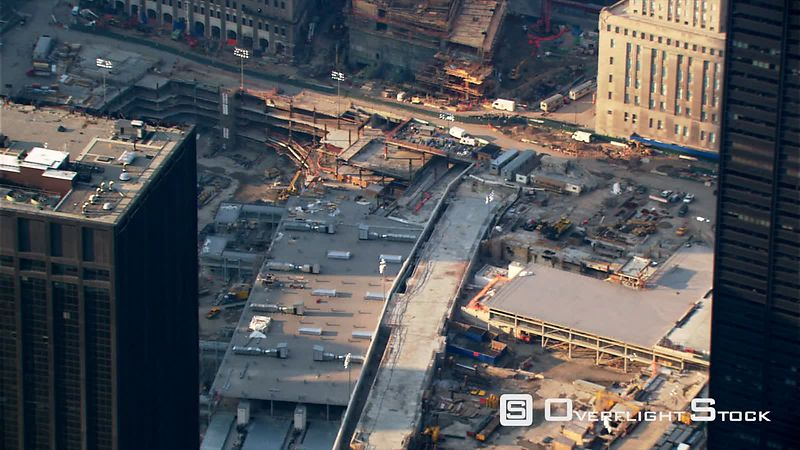 Flight looking down onto Freedom Tower foundation Construction.