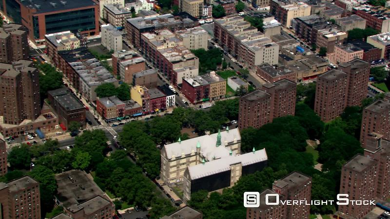 Rotating aerial view from East 99th Street to Central Park.