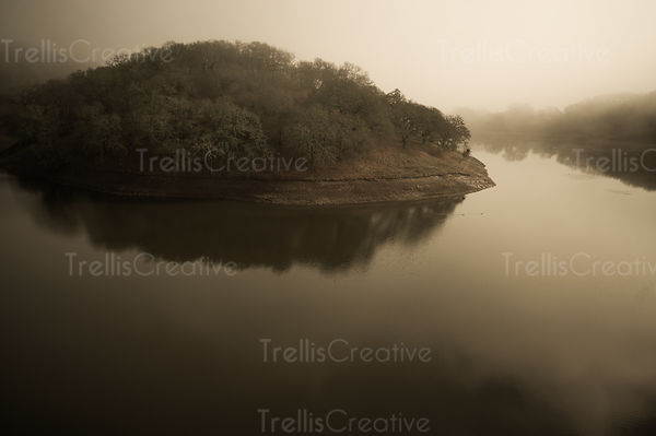 Aerial view of a river bank on a foggy morning