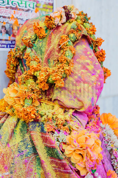 Portrait of a Person Covered up for Holi