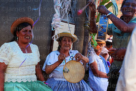 Women playing caja (drum) and singing couplets / coplas tarijeñas, Canasmoro, Tarija Department, Bolivia