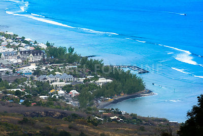 Aerial view of Saint Leu at Reunion Island