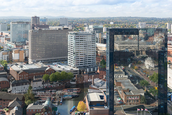 View towards Broad Street showing Hyatt Hotel and other buildings, Birmingham, England.