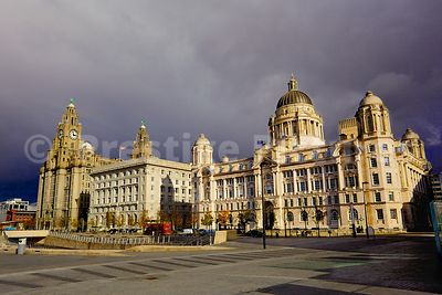 The Three Graces in Liverpool  on a Sunny Day - The Royal Liver Building, The Cunard Building and the Port of Liverpool Building