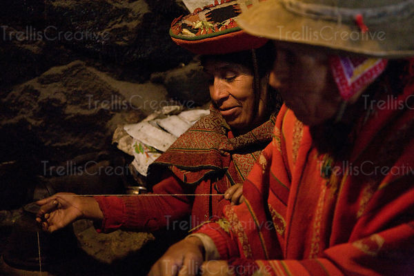 This old Andean couple in their one room clay house recently got electric service to power their one lightbulb. Lares Trek, Andes Mountains, Peru