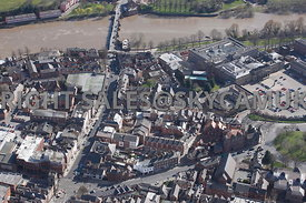 Chester aerial view looking down Bridge street and lower Bridge Street towards The Bridge crossing the river Dee