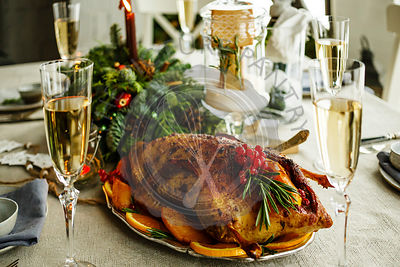 Homemade baked Duck on New Year's Christmas table