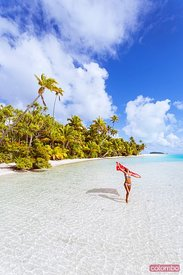 Woman with sarong, One Foot Island, Aitutaki, Cook Islands