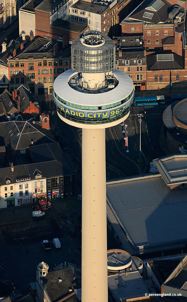 aerial photograph of the Radio City Tower , also known as St. John's Beacon  Liverpool UK