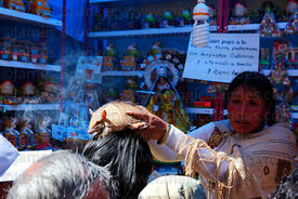 Aymara shaman blessing person with a live Andean hairy armadillo (Chaetophractus nationi) in market at Alasitas festival, Puno, Peru