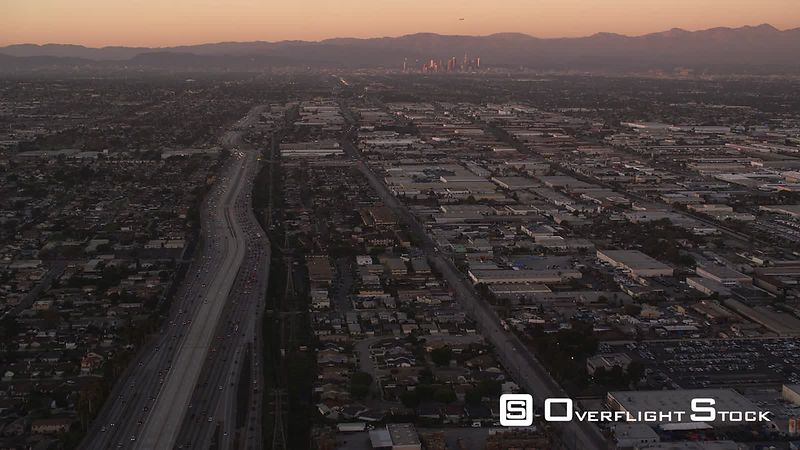 Over the outskirts of Los Angeles in evening light. Shot in October