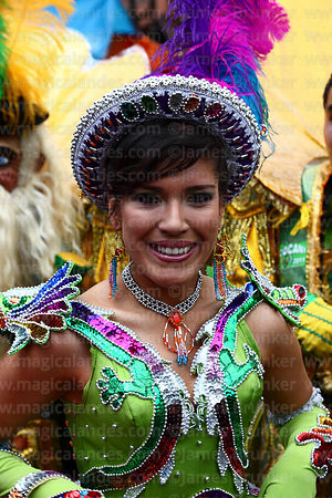 Beautiful female Chinita Morenada dancer, Oruro Carnival, Bolivia