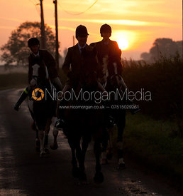 The field arrives for the meet at dawn - The Cottesmore at Sawgate Lane, Burton Lazars, Leicestershire, 24/9/11