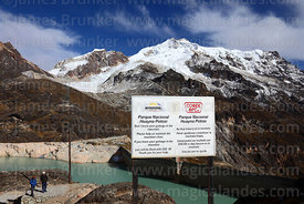 Sign telling climbers not to leave garbage on Mt Huayna Potosí, Cordillera Real, Bolivia