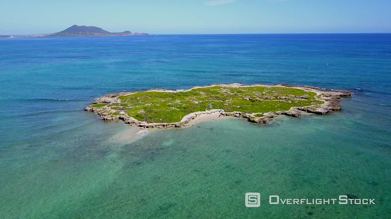 Flat Island, Kailua Bay, Filmed by Drone, Kailua, Oahu, Hawaii, United States
